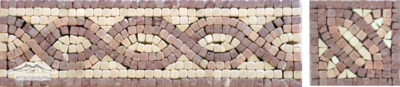 Border #22: Braid Design 3-1/2''x12'' Cream Marfil, Maroon & Brown Marble Tumbled