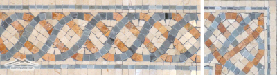"Serpentine Border & Corner #24: 4-5/8"" x 12"" Cream Marfil, Blue Saveh, & Gold Travertine Polished"