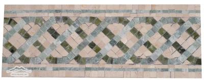 "Border & Corner #24CGM Serpentine: 4-5/8"" x 12"" Cream Marfil, Green Olivine & Ming Green"