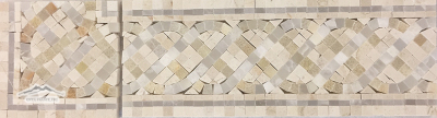 "Serpentine Border & Corner #24CGW: 4-5/8"" x 12"" Cream Marfil, Golden White & White Onyx Polished"
