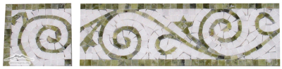 "Border: #26WG Vine Design: 4n"" x 12'' White Statuary Calacatta & Green Olivine Marble Polished"