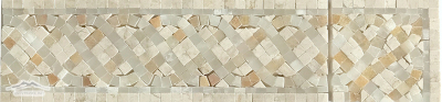 "Serpentine Mini Border #27 & Corner : 4n"" x 12"" Cream Marfil, Golden White & White Onyx Polished"