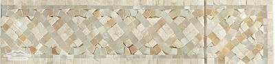 """Serpentine Mini Border #27 & Corner : 4n"""" x 12"""" Cream Marfil, Golden White & White Onyx Polished"""