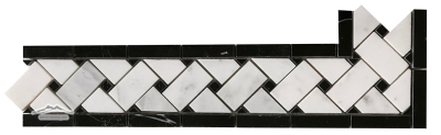 "Border & Corner: #31WB Basketweave: 3-3/4"" x 12-1/4"" w/ Black Marble Polished"