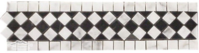 Border & Corner #11W: 3''x12'' White Carrara & Black Marble Polished