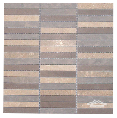 "Stripe Mosaic 5/8"" x 4"": Blue Elegant, Blue Lagoon, Olive Green Mixed Limestone Honed"