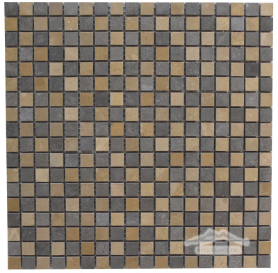 "Blue & Gold Lagoon Limestone Checkerboard 5/8"" x 5/8"" Mosaic Honed"