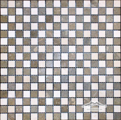"Checkerboard Crema Lyon & Olive Green Limestone 5/8"" x 5/8"" Mosaic Honed"