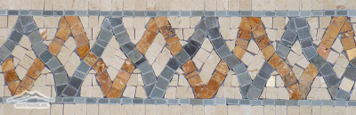 "Border:#23 Woven Design: 3-7/8"" x 12"" Cream Marfil, Blue Saveh & Gold Travertine"