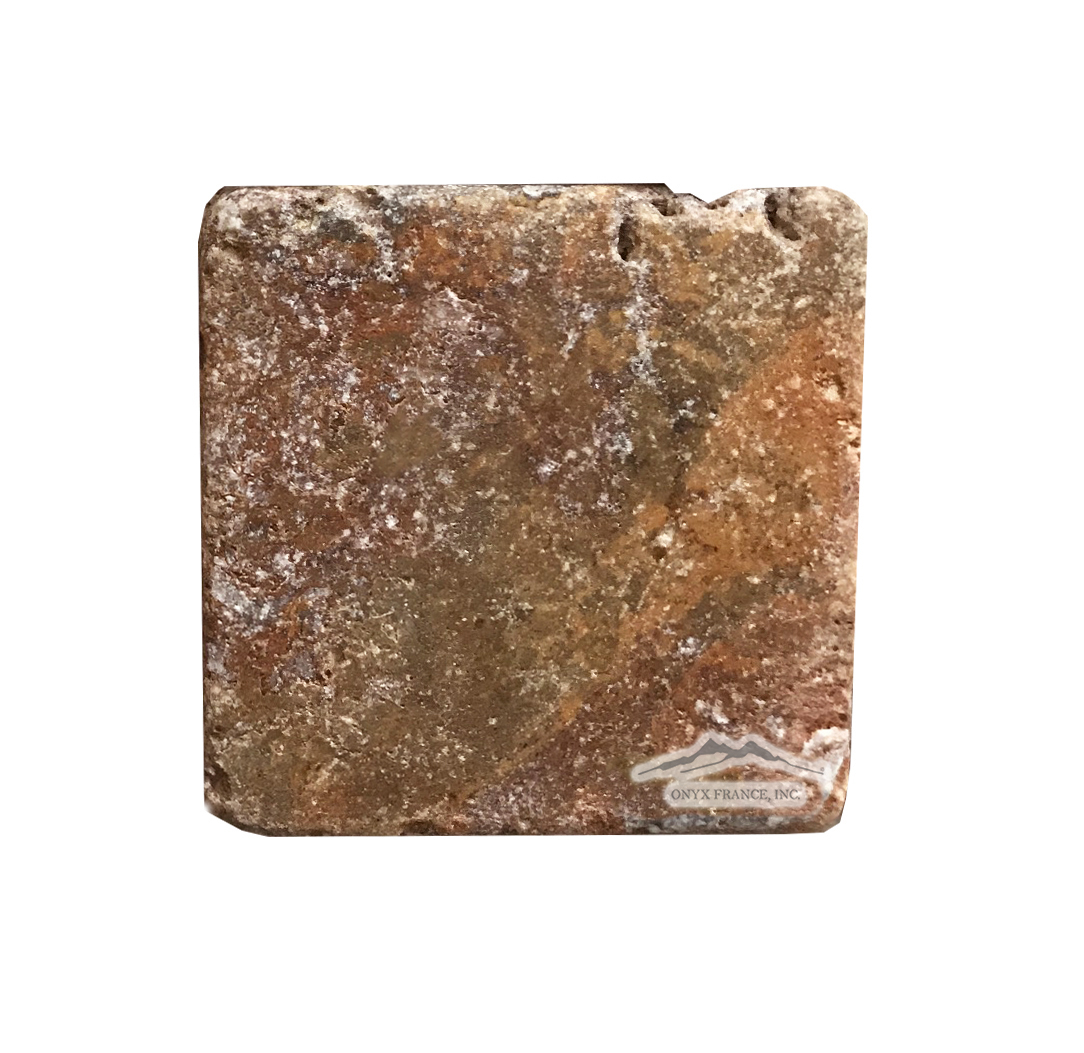 "Red Mexican Travertine 6"" x 6"" Tile Tumbled (inquire)"