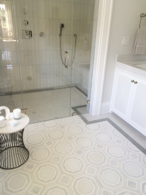 "WJ4 Bathroom & Shower Floor with 3"" x 12"" Blue Stratta & White Silk on Shower Walls"