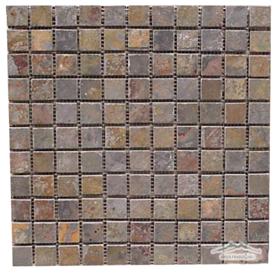 "Multicolor Autumn Slate 1"" x 1"" Gauged Cleft Mosaics"