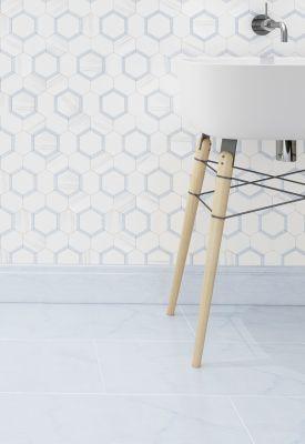 "Honeycomb 3"" Hexagon 3. White Elegant Honed with Blue Bliss Marble Polished"