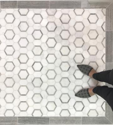 """Honeycomb 3"""" Hexagon 1. White Statuary Calacatta Marble with Blue Stratta Limestone Honed"""