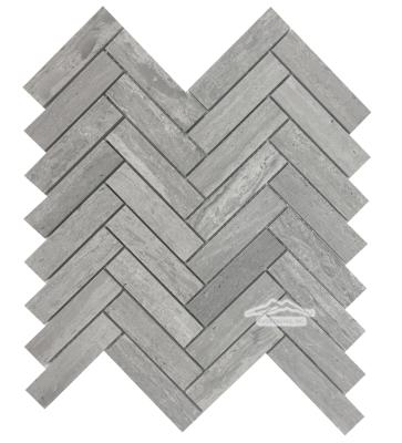 """Herringbone 1"""" x 4"""" Blue Stratta Limestone Mosaic Honed"""