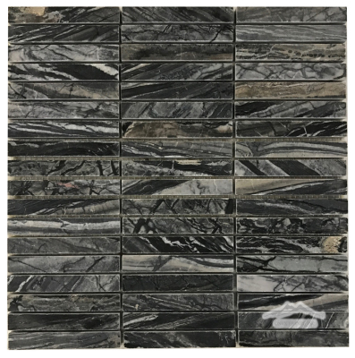 Midnight Glacier Marble 5/8'' x 4'' Stripes Honed , Lot# 092508