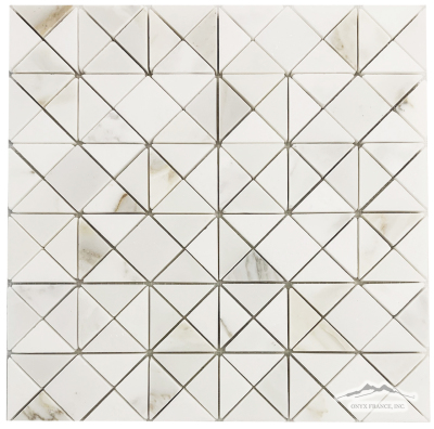 Polygon: Calacatta Gold Honed, White Thassos and White Silk Polished Mosaic
