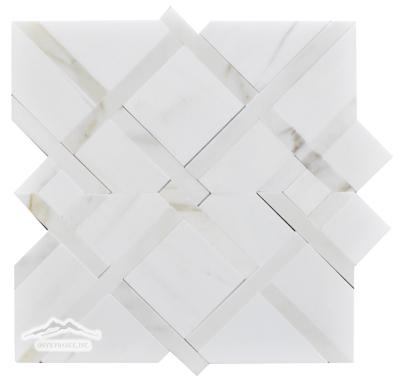 Shiraz 1. White Elegant Honed w/ Calacatta Gold Polished