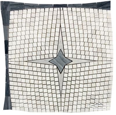 Starlight: White Elegant Honed, Palissandro Blue, Hudson Grey Marble Polished Mosaic