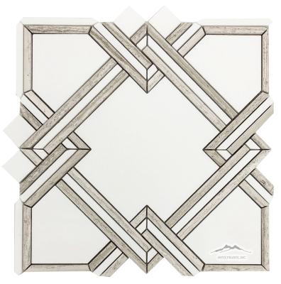 Nottingham 2. White Thassos Marble with White Stratta Limestone Honed Mosaic