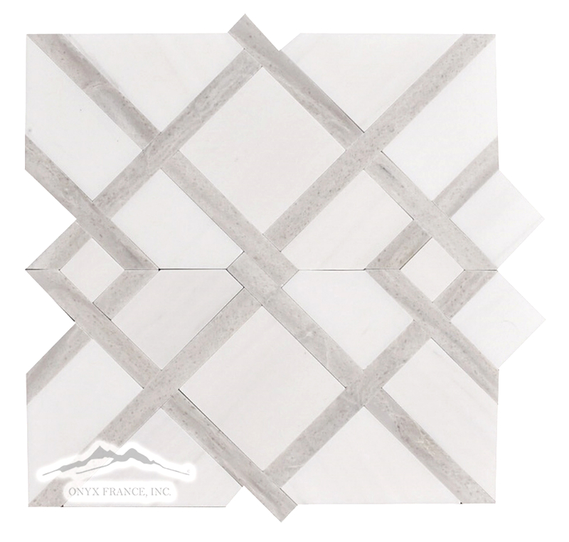 Shiraz 2. Pattern White Elegant (Dolomite) Honed w/ Greige Elegant Polished Bars