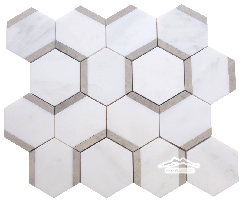 "Honeycomb 3"" Hexagon 2. White Statuary Calacatta Marble with Ash Grey Limestone Honed (.87/ Sht)"