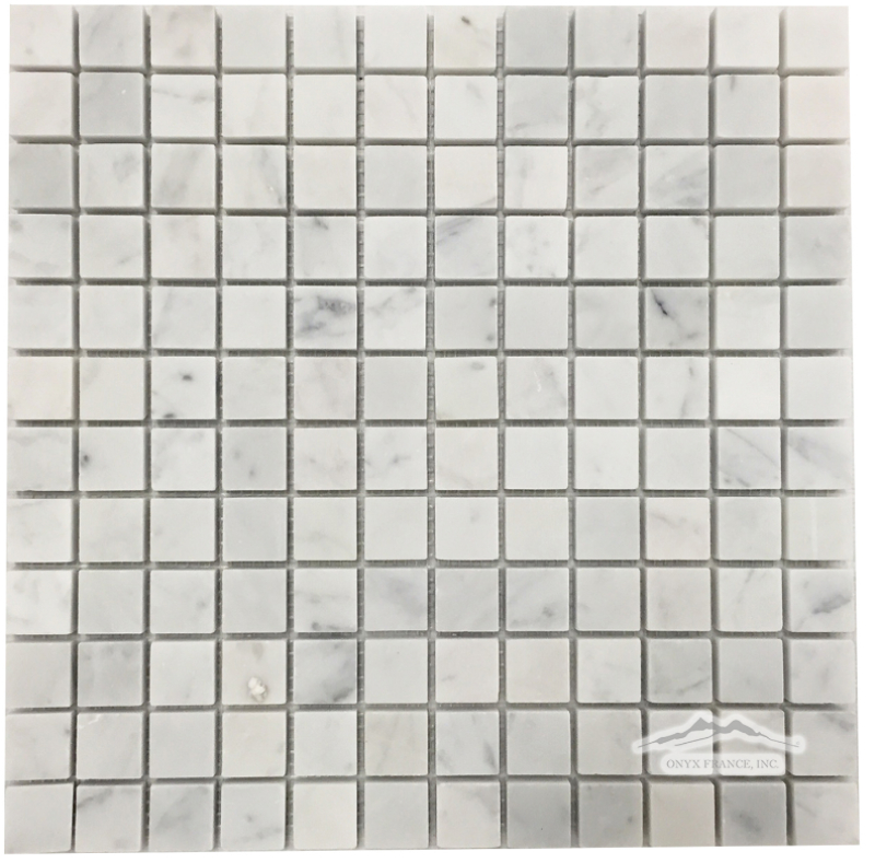 "White Carrara Venatino PREMIUM Marble 1"" x 1"" Mosaic : Honed & Polished"