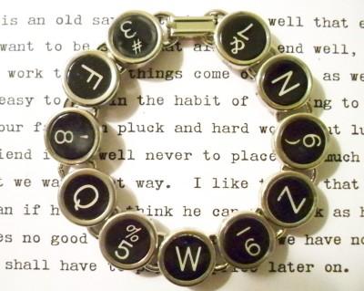 Black typewriter key bracelet antique jewelry repurposed