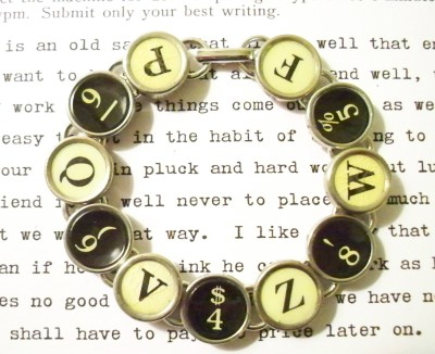 antique typewriter bracelet