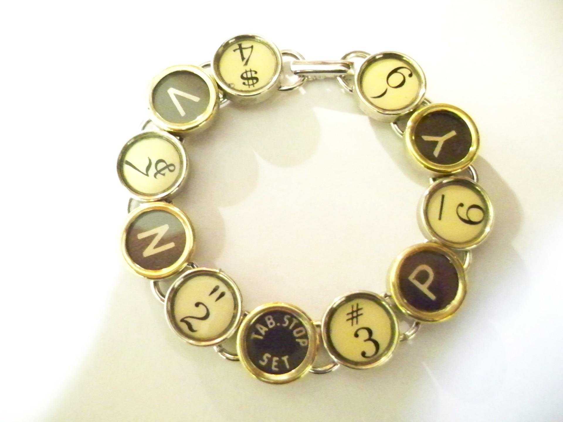 antique typewriter bracelet