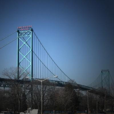 Ambassador Bridge from Windsor, ON