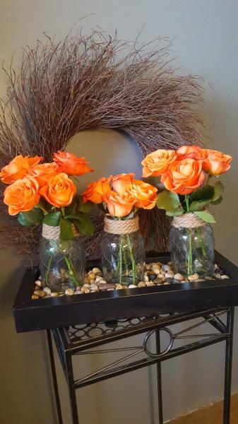 30) Bottles & Burlap with fresh cut flowers