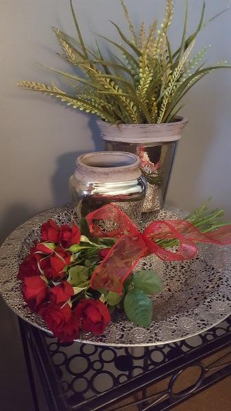 27) Silver vases with Fresh Spray Rose Bundle