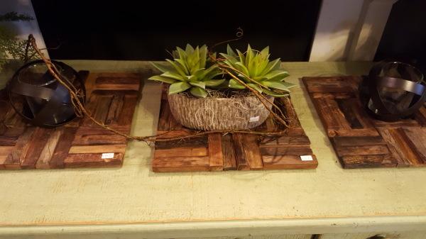 19) Teak wood square table decor