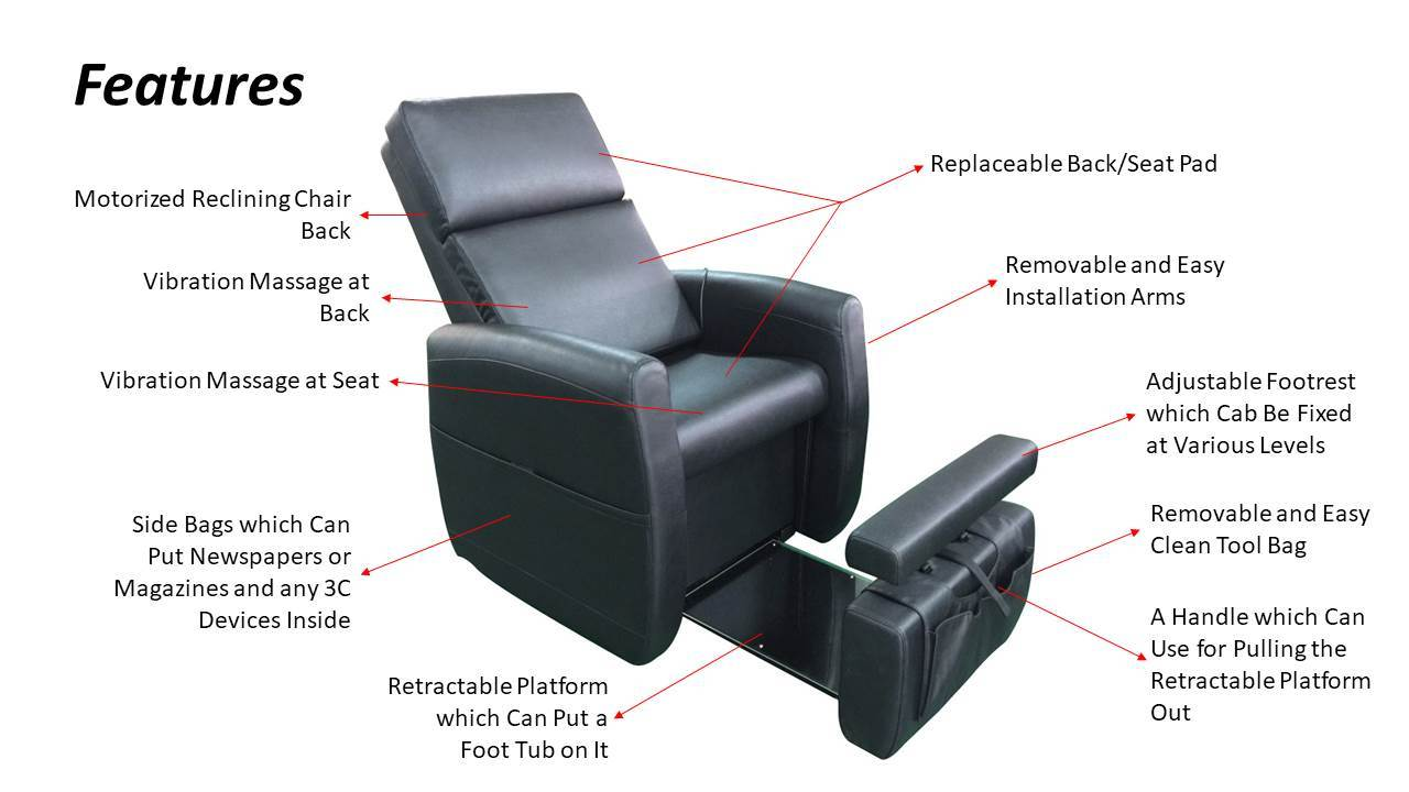 pedicure lounge chair features