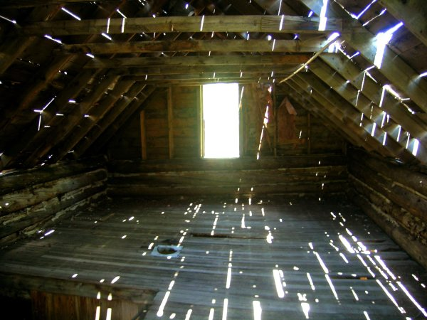 cabin, old, derelict, abandoned, sunlight, shafts