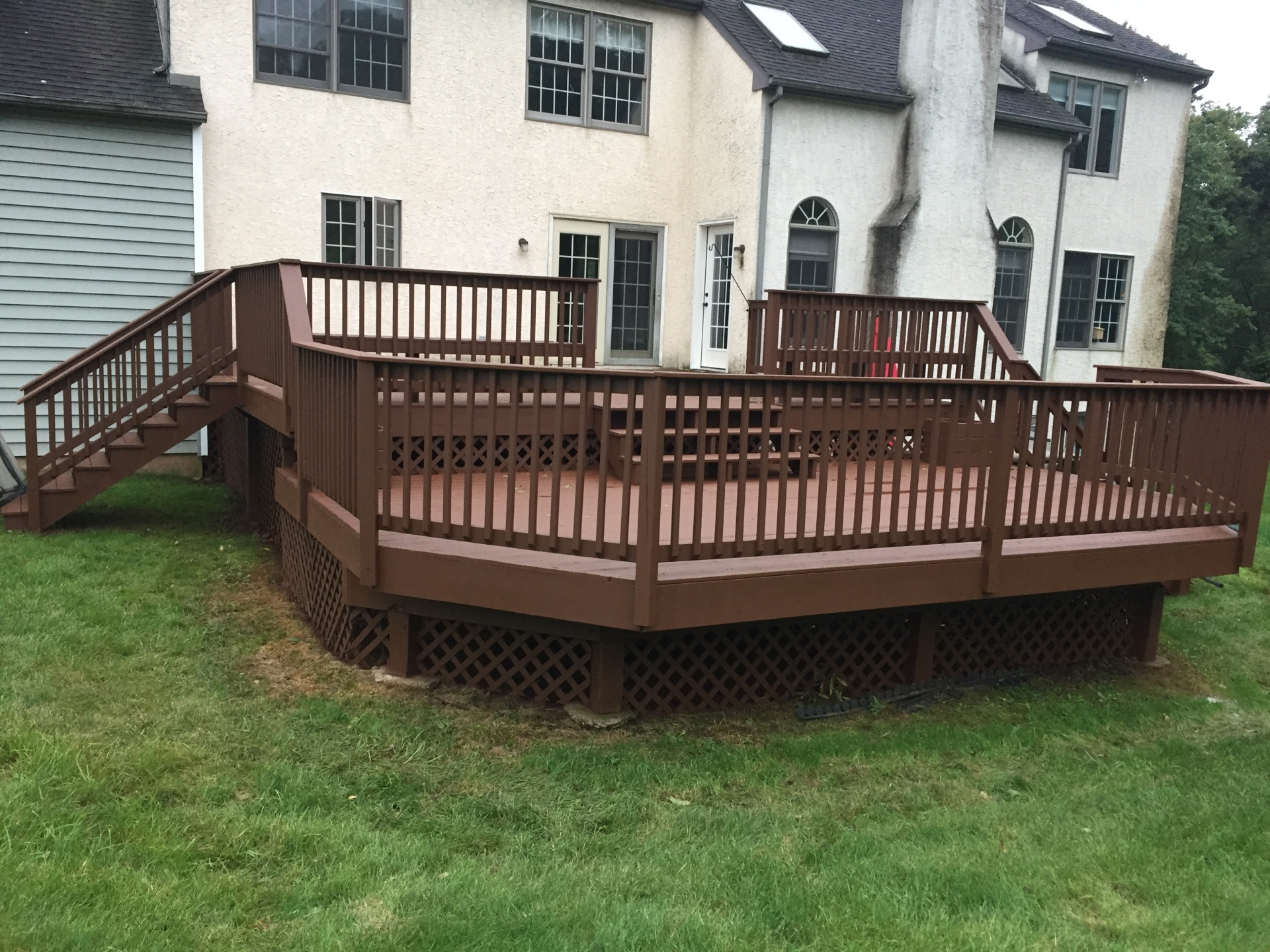decks power washed and stained.