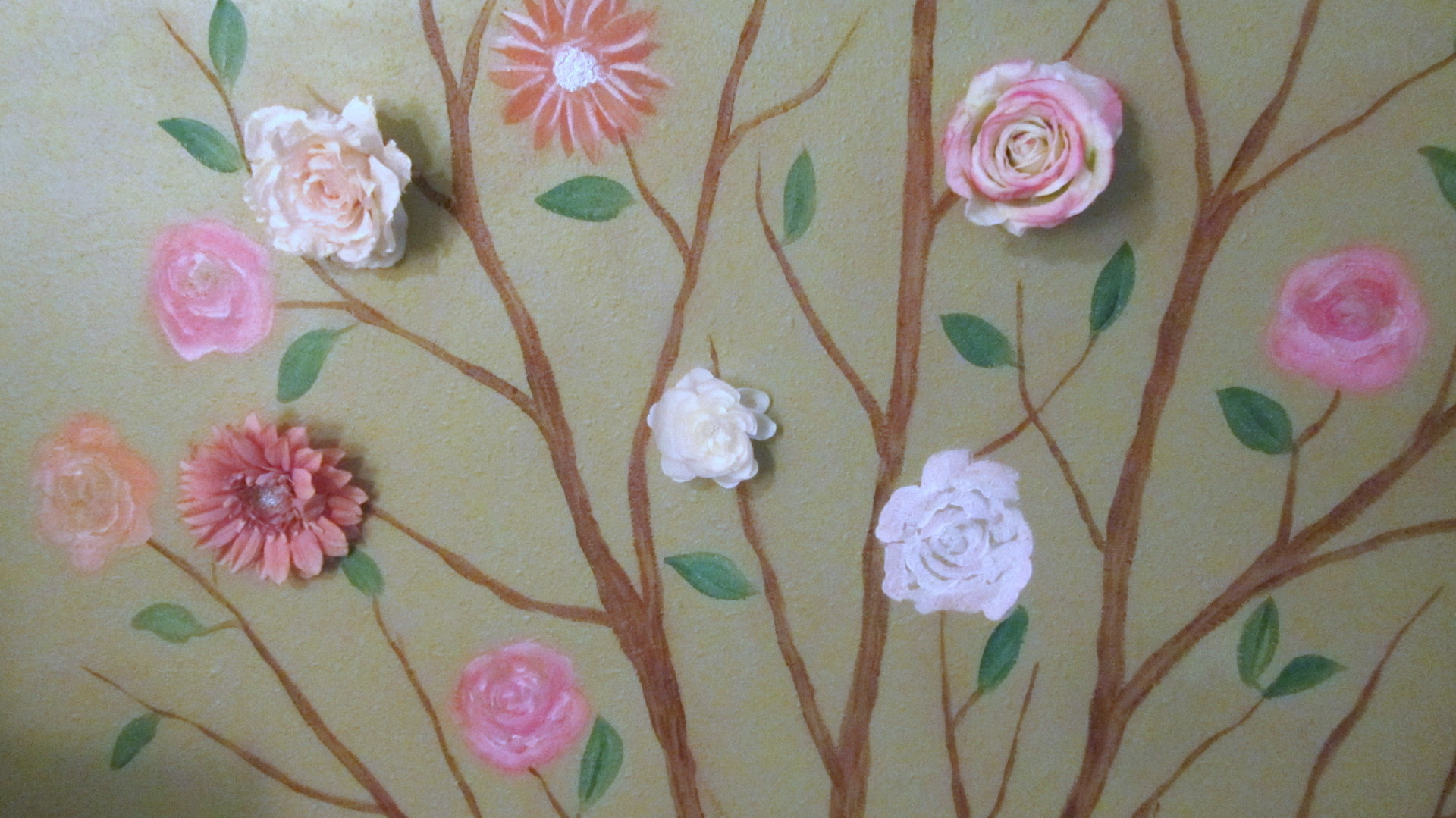 flower mural with 3d roses