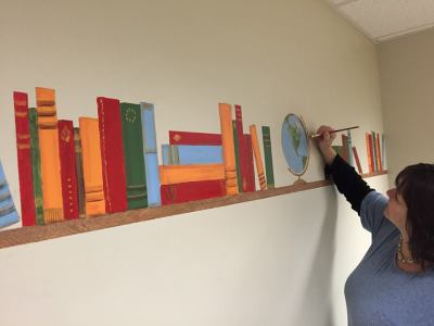 book shelf mural at Literacy Center