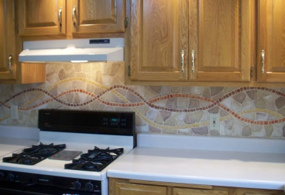faux painted mosaic backsplash
