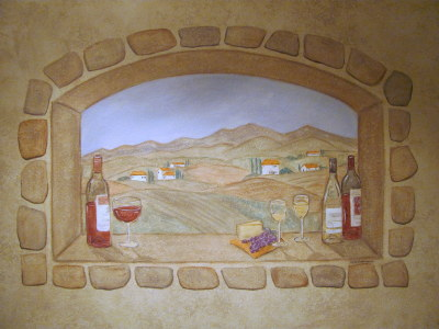 tuscan window mural with stone border
