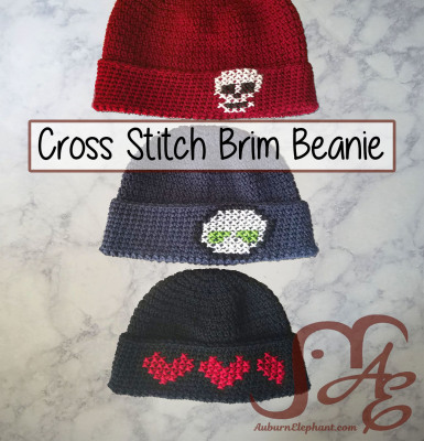 Cross Stitch Brim Beanie