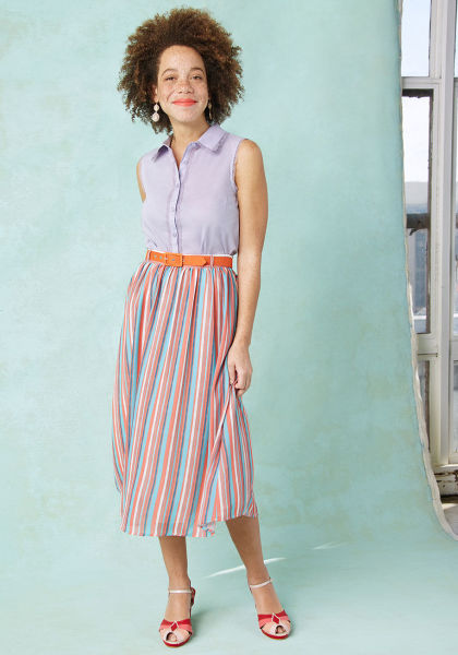 Midi skirts give a chic feel to your overall look.