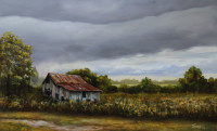 Summer Storm painted by Tonia Gebhart, The Barefoot Artist. Oil painting of a barn, storm clouds, and a field of wild flowers. Tonia is a North Carolina Artist.
