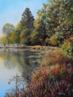 Keith Hills Pond painted by North Carolina Artist Tonia Gebhart, The Barefoot Artist. It's an oil painting of the pond on Keith Hills Golf Course in Buies Creek