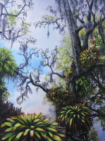 Marie Selby Botanical Gardens, Sarasote Florida an oil painting by North Carolina artist Tonia Gebhart, The Barefoot Artist. It's a tree with mossy oak and flowers. Art prints are available.