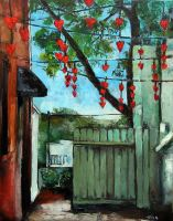Love Alley in Fuquay-Varina painted by North Carolina artist Tonia Gebhart.  This is a painting of the hearts that were hung beside the Fuquay-Varina Revitalization Association. They were hung on a wire to represent the love for the community. It's painted with a palette knife.