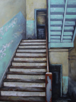 Forlorn and Forgotten, oil painting painted with a palette knife, painted by North Carolina Artist Tonia Gebhart The Barefoot Artist. This is a painting of the old stairs that were in the old Coats, NC school before it was torn down.