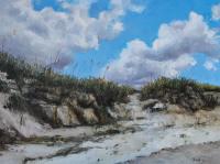 Sand Dunes on Bird Shoal, Beaufort a palette knife oil painting by North Carolina artist Tonia Gebhart The Barefoot Artist