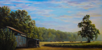 A Beautiful Morning in Buies Creek is an oil painting by Tonia Gebhart The Barefoot Artist.  It's a farm painting with a barn, field and early morning sunrise.